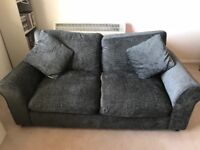 Grey 2 seater fabric sofa - only 8 months old