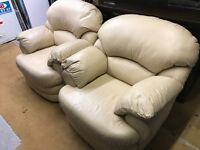 Cream leather armchairs x2 (can deliver)