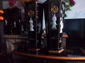 Oriental laquerd hexagonal umbrella stands forsale