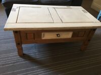 Shabby chic wooden coffee table and matching tv unit