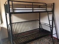 Black metal bunk bed with foldable double bed and mattress