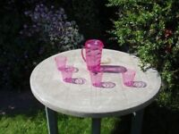 Bright Pink Plastic Drinks Set