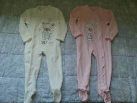 4 sleepsuits for girls age 18-24 months