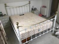 White metal bed frame Fits standard 5 foot king size mattress