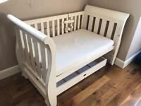 Brilliant Boori soft white sleigh cot bed