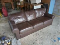Brown leather sofa for sale £50 ono