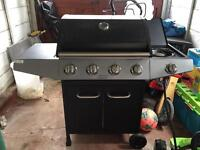 4 burner gas barbecue with side hob and temp gauge
