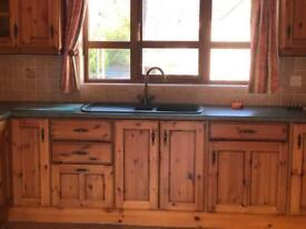 Pine kitchen plus worktops and sink unit