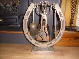 Vintage horseshoe fireside companion set