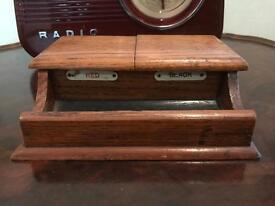 Vintage and Retro 1930s Oak Inkwells