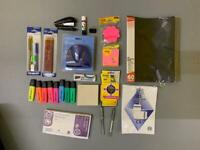 assorted stationary, hole punch, highlighters post it notes , staples pencils and pens