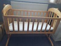 Mama and papas wooden rocking crib