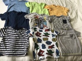 Bundle of boys age 2-3 years summer tshirts, most hardly worn, x9 tops. Includes star wars t shirt.