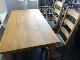 Large Oak Table + 5 Oak Chairs