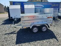 BRAND NEW 8.7x4.2 TWIN AXLE TRAILER DOUBLE BROADSIDE AND RAMP WITH MANUAL TIPPING FEATURE