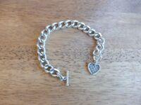 Vintage sterling silver bracelet solid silver with heart & T bar hallmarked 57g