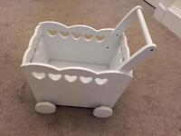 Girls wooden heart storage trolley/chest/box or pram