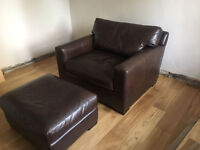 Real Crate and Barrel Large Leather Chair and Footstool RRP Perfect Condition £2350 Next John Lewis