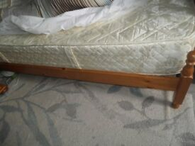 Single bed , pine. with orthopaedic mattress. both in excellent condition ,