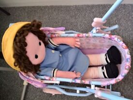 TOY PRAM/PUSHCHAIR AND DOLL
