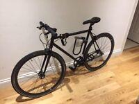 NO LOGO BLACK SINGLE SPEED BIKE FIXIE BICYCLE + LIGHTS & LOCK