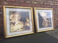Pair of large framed pictures 76 x 76cm