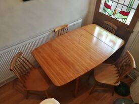 Vintage G plan extendable dining table with 4 stick back chairs possibly Ercol