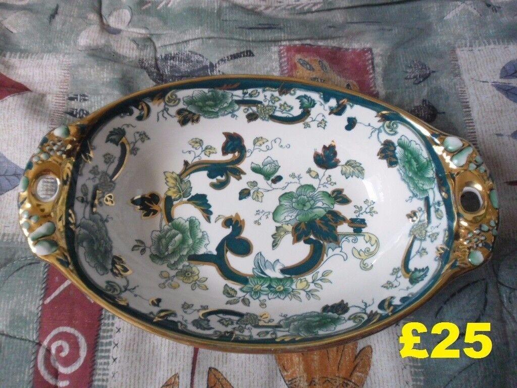 Masons Green floral Mandalay oval bowl