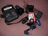 Job lot old cameras and lens,Ideal for collector