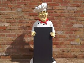 4 FOOT ADVERTISING CHEF/COOK WITH CHALK BOARD