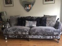 Crushed velvet silver 3 seater & love seat