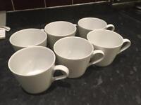 Set of 6 tea coffee cups white porcelain