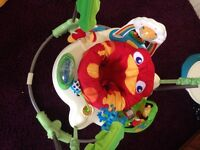 Rainforest jumparoo, blue bumbo with tray, navy/white spots cath kidson baby bag