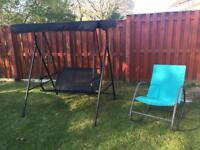 Swinging 2 seater swinging chair with canopy & rocking chair