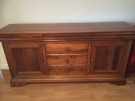 Acacia Wood Solid Wood Side Board for Sale in good condition. Two faint ring marks on top.