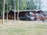 Log Cabin, 36x20ft, 2 double bedrooms,Central Heating, Wood burner