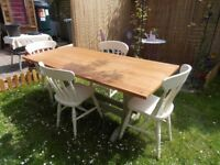 Choice of 2 lovely shabby chic tables and chairs in clotted cream.