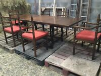 Dark wood extending Dining Table And 8 Chairs