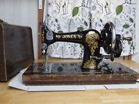Jones vintage hand operated sewing machine.