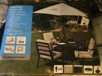 Evesham patio set - 4 chairs, table and parasol BRAND NEW, UNOPENED!