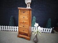 ABSOLUTELY STUNNING TALL JALI SHESHAM CHEST OF DRAWERS WITH 6 DEEP DRAWERS EXTREMELY HEAVY UNIT