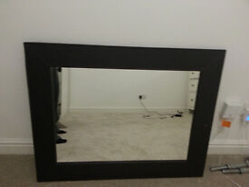 mirror with brown leather in good condition