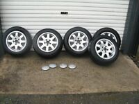 """Genuine 5 audi alloys with excellent tyres and centre caps 15"""". 5x112 fitment will also fit vw."""