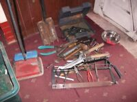 Electric Drill, fork, spade, spanners, hammer, + more