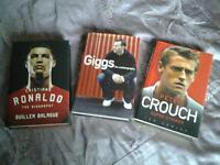 3Hardback books: CRISTIANO RONALDO; PETER CROUCH; and RYAN GIGGS.
