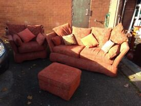 For sale quality drop arm sofa chair and foot stool all in good condition