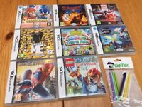 Bundle of 8 Nintendo DS games + 9 extra pens