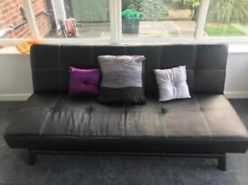 Sofa bed, black leather double