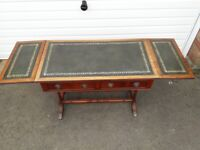 shaw of london Mahogany Hall Table. Brass Castors 2 Drawers green leather inlay