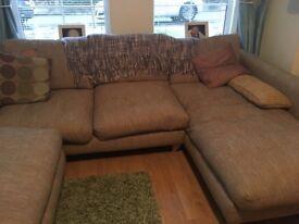 3 piece sofa set - 3 seater corner sofa, 2 seater sofa and futon